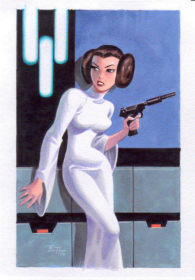 Bruce Timm pinup of Leia's classic look