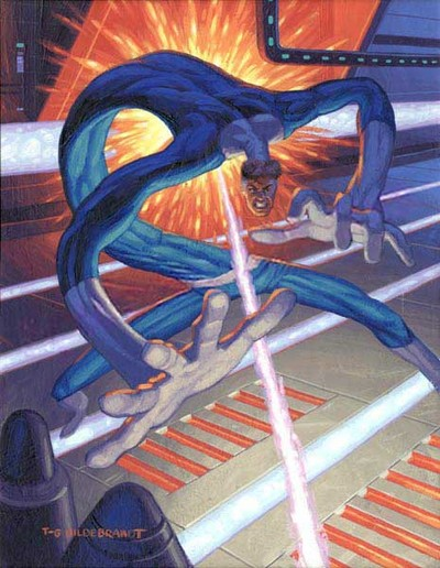 Mr. Fantastic stretches to dodge being shot