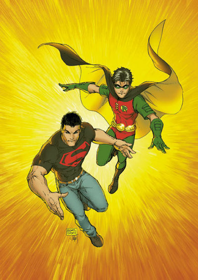 Robin and Superboy working together