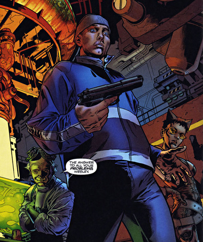 Wesley holds a gun for the first time.