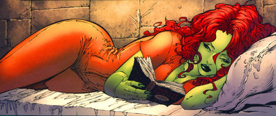 Ivy in Arkham reading a book