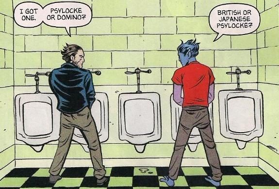 Eew, Nightcrawler isn't wearing shoes in a public bathroom!