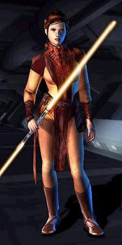 Bastila's outfit and double-bladed lightsaber