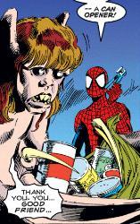 Spider Man befriends Jimmy.