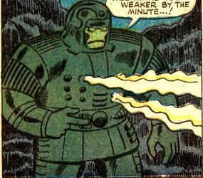 Early Titanium Man suit.