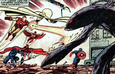 The Avengers confront Duval underneath this makeshift shell.