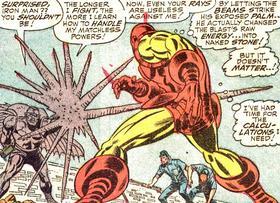 Grey Gargoyle can even revert Iron Man's repulsor blast into stone.