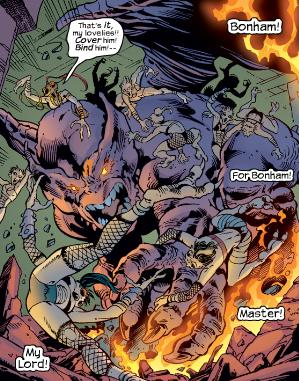 Dragon Man fights off a horde of mutated vampires.