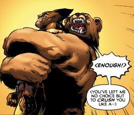 Ursa Major gives Wolverine a bear hug.