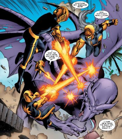 The Nova Corps engage with Dragon Man.