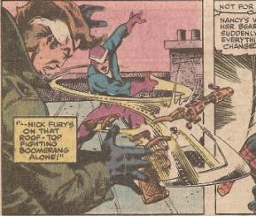 Boomerang vs Nick Fury.