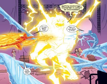 Human Torch & Iceman take on Zzzax
