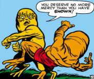 Manoo knocks out the alien fugitive.