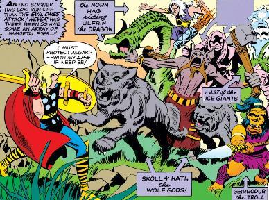 Skoll leads an ambush on a young Thor.
