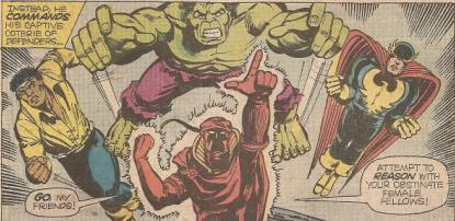 Red Rajah takes control of Cage, Nighthawk and the Hulk.