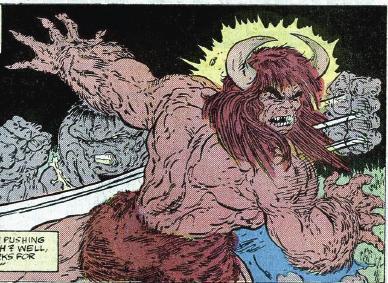 Hulk battles Man-Bull.