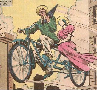 Turner D. Century on his flying bicycle.