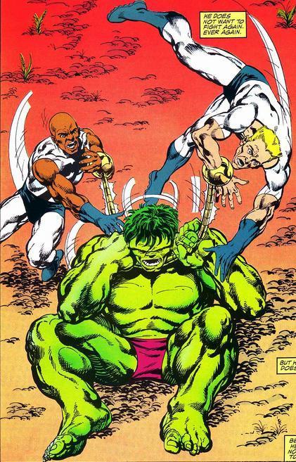Hammer and Anvil battle the Hulk.