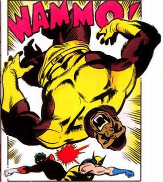 Ape-Man gets a one-two punch from Nightcrawler and Wolverine.