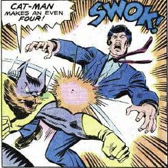 Cat-Man introduces himself to Tony Stark.