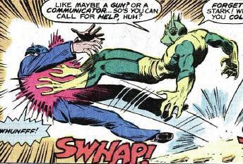 Frog-Man jump kicks Mr. Stark.