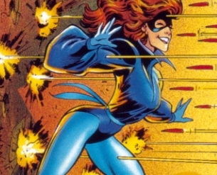 Thanks to Kitty's powers, deadly projectiles pass right through her.