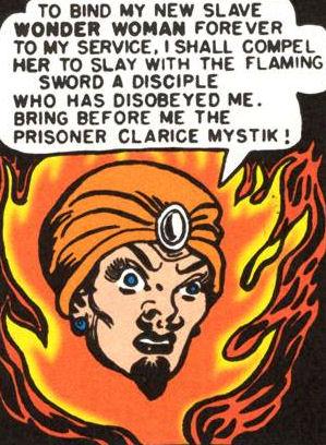 Hypnota posing as the God of Crimson Flame.