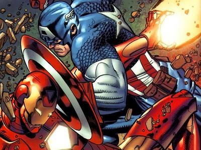 Cap and Iron Man at odds during the superhero Civil War.