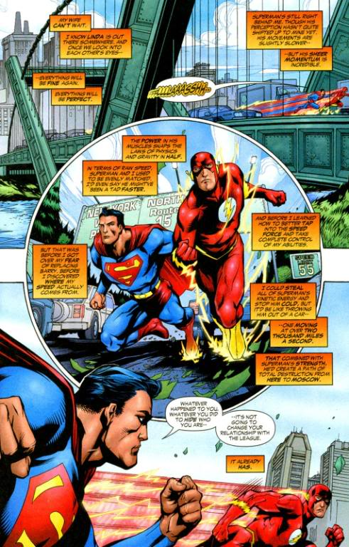 Flash states that Superman is moving at over 2000 miles/sec,  which is also over 120,000 miles/minute, and also 7,200,000 mph. That's  Mach 9350. I believe this is that fastest that I've seen  Superman move under the Earth's atmosphere. He can, however, break light  speed in the vacuum of outer space.