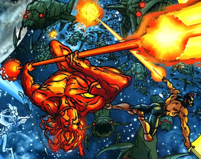 Firelord and the other Heralds fight the Annihilation Wave