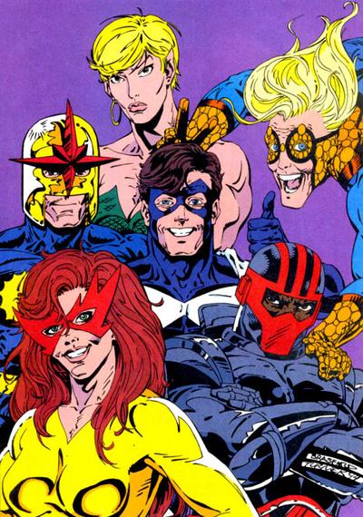 Nova with the Original New Warriors.