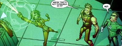 Mimicking Green Lantern's ring.