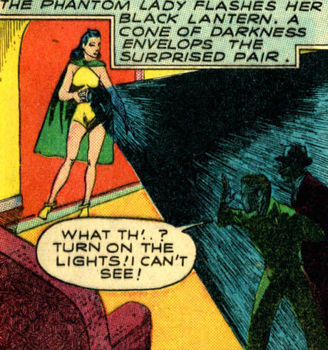 The Phantom Lady using her darkness projector