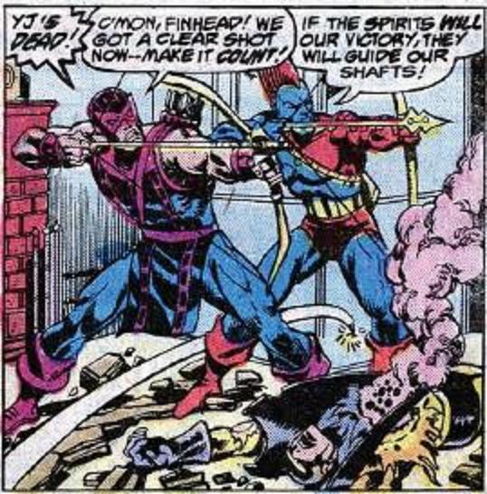 Clint and Yondu take aim against Korvac.