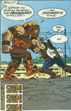 Thunderstrike tries to stop The Juggernaut