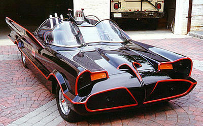 The iconic 1960s TV Batmobile, based on the Lincoln Futura concept car.