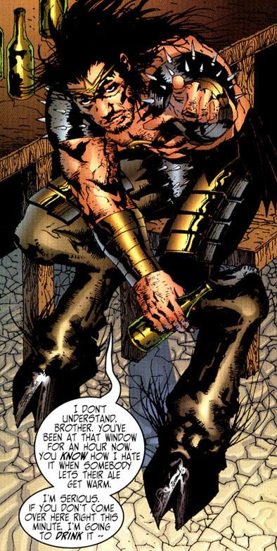 Gorgon's beard is as wild as his... footwear :p