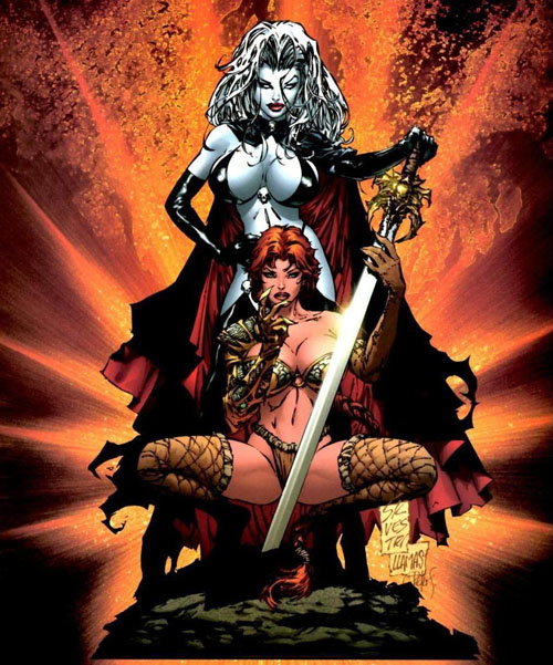 Lady Death & Katarina (Medieval Witchblade): typical Bad Girl pinup with provocative poses, skimpy yet elaborate bikini-like costumes, prominent busts, and large weapons