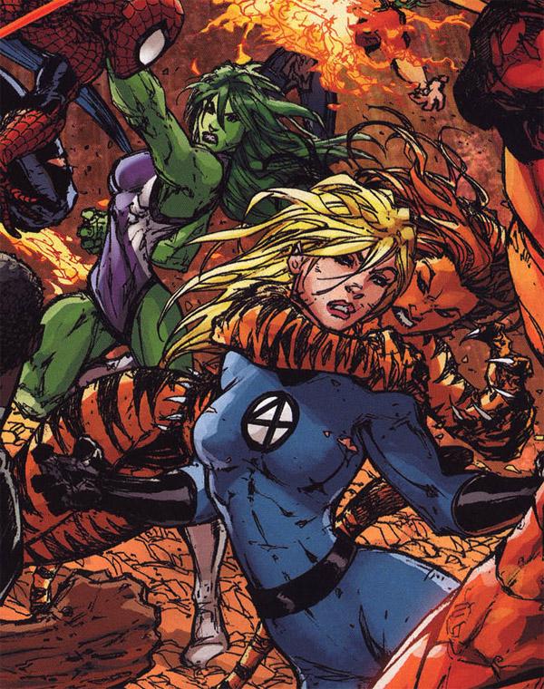 Civil War - Tigra has Sue in a headlock
