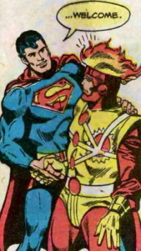 Superman welcomes Firestorm into the JLA