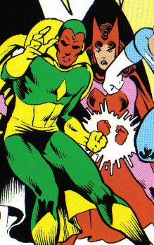 Vision with Scarlet Witch.
