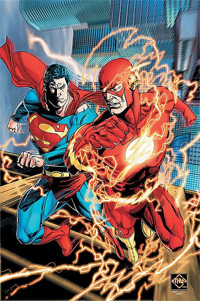 Superman racing the Flash