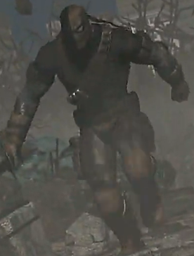 Deathstroke running through a war zone to get to his target.