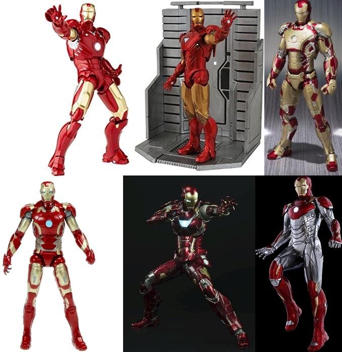 Iron Man figures from Kaiyodo, Diamond Select, Bandai, Hasbro, Sentinel Toys and Hot Toys