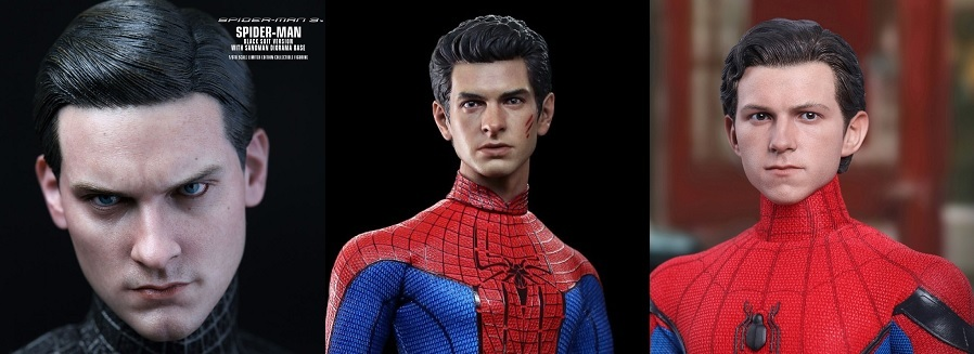 Renditions of the various cinematic Spider-Men from Hot Toys