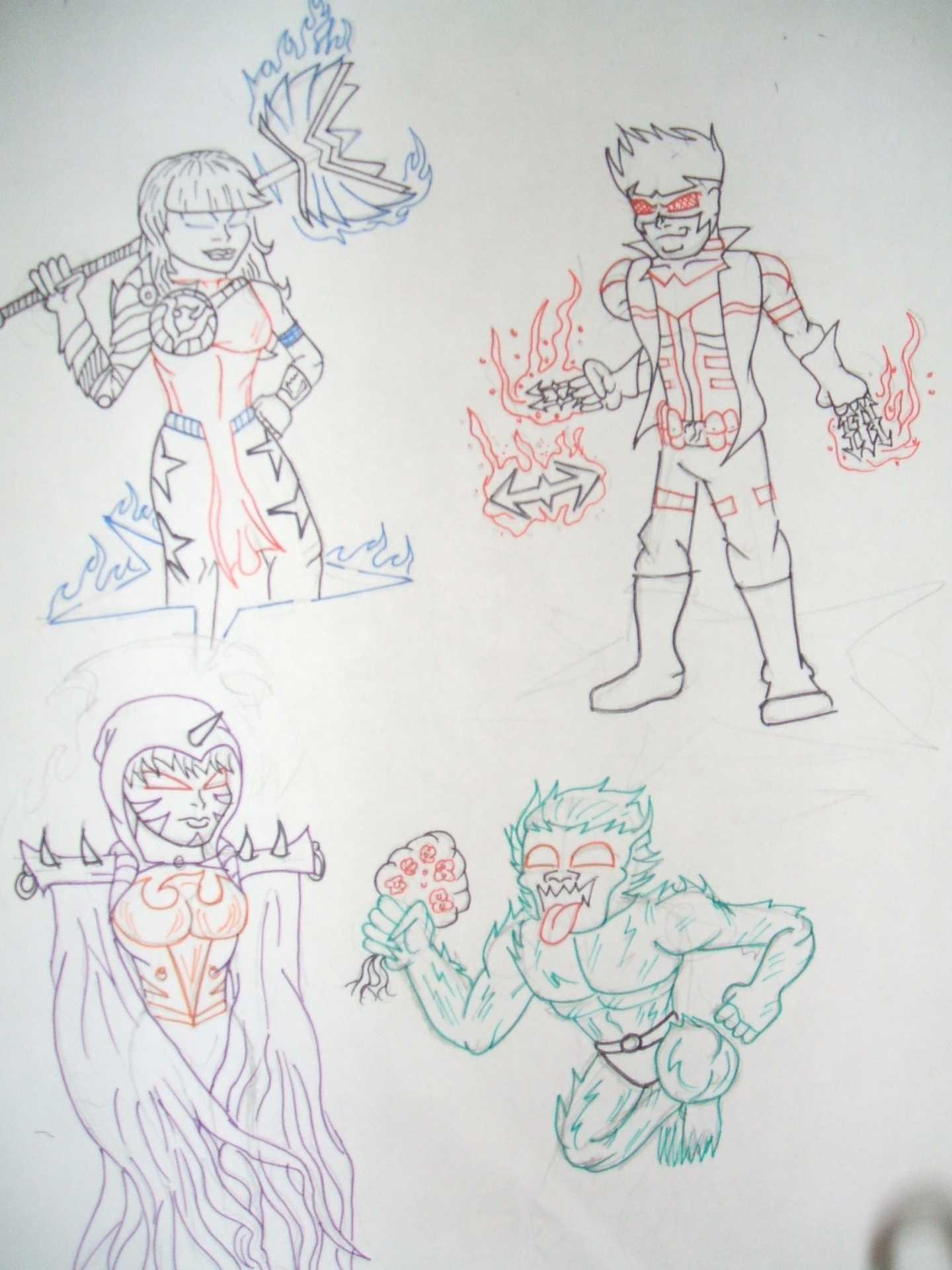 Magik + Wondergirl,Gambit + Nightwing, Rachel Grey+Raven, Beast + BeastBoy by @keroga