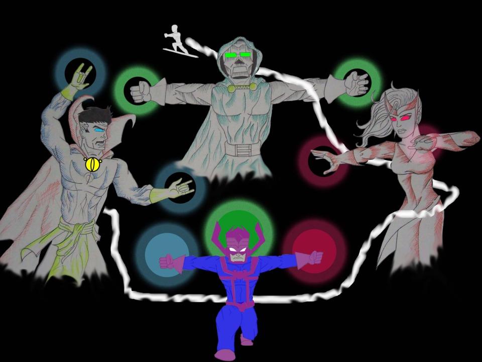 Dr. Strange vs Dr. Doom vs Scarlet witch vs Galactus vs Silver Surfer by @keroga