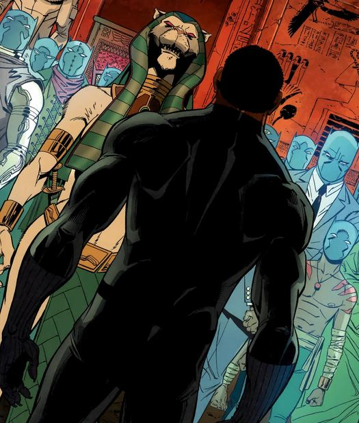 T'Challa, standing before the Panther Goddess and the souls of the dead Wakandan monarchs.