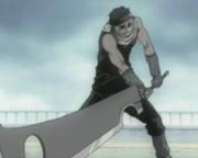 Wielding his famous sword.
