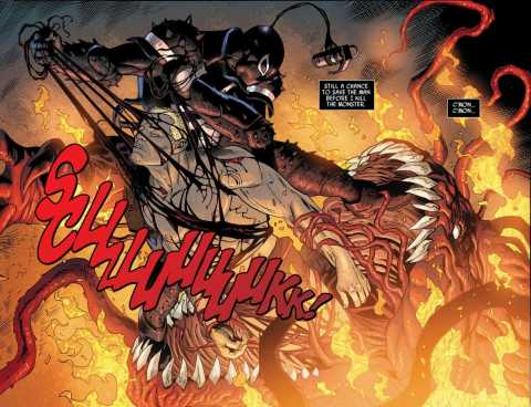 Fire severely hurting the Toxin symbiote